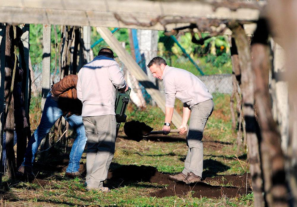 Nuevo rastreo para buscar el cuerpo de María José Arcos, la joven desaparecida hace quince años, en las fincas del único imputado Ramiro Villaverde, en la parroquia de Tenoria, en cotobade (Pontevedra)